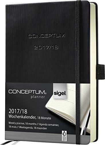 Preisvergleich Produktbild Sigel C1802 Wochenkalender 2017/2018, 18 Monate, ca. A6, schwarz, CONCEPTUM - auch in A5