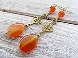 Pendientes de estilo vintage, pendientes de agata naranja, pendientes largos dorados, joyas de piedras semi preciosas, joyas para mujer