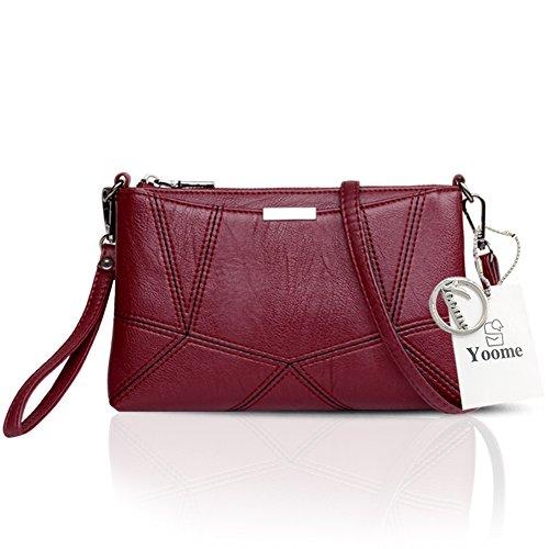 Yoome Retro Multilayer Große Kapazität Soft Flap Taschen Für Frauen Strap Bags Messenger Bag Aktenkoffer - Navy Rot