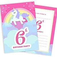 Party invitations amazon birthday party invitations unicorn rainbow pink invites ages 1st 2nd 3rd filmwisefo