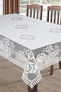 140x180 cm weiße Tischdecke Tischtuch Spitze Modern Folk pflegeleicht praktisch elegant Material Nature 1