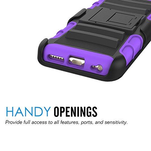 """MoKo Hülle für iPhone 6S Plus - [Heavy Duty Serie] Outdoor Dual Layer Armor Case Handy Schutzhülle Bumper mit Gürtelclip / Standfunktion für Apple iPhone 6 Plus / 6S Plus 5.5"""" Smartphone, Schwarz Violett"""