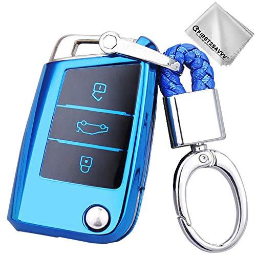 Soft-shell-golf (Key Protection Shell Auto Schlüssel Hülle Key Cover Case Etui Silikon mit Schlüsselanhänger Für VW Volkswagen Skoda Octavia A7 Golf 7 GTI 7 MK7 MKVII Golf R R20 3-Buttons Blau)