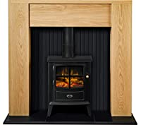 Adam Elleswood Stove Suite in Oak with Dimplex Brayford Electric Stove in Black, 48 Inch