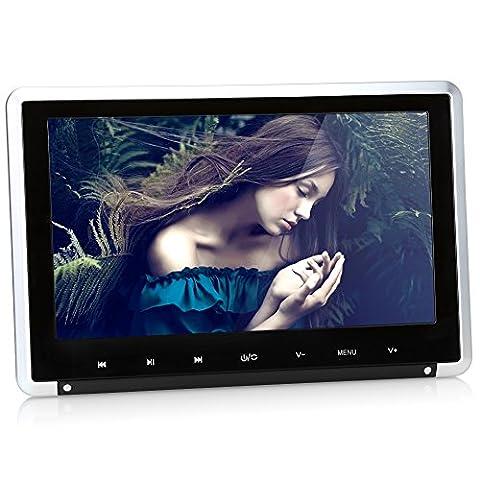 NAVISKAUTO 10.1 Inch Headrest DVD Player in Car Video Ultra Thin LCD Screen Detachable Auto Monitor with HDMI FM Transmitter Support IR Wireless Headphones(Black)