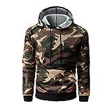 KPILP Herrenmode Herbst Winter Casual Militär Tarnung Patchwork Langarmshirt mit Kapuze Oben Bluse Outwear(Braun,EU-56/CN-XL)