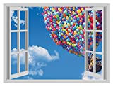 Enorme Balloon UP Cool Open 3D Window Finestra Boys Girls Vinyl Poster Wall Art Decal Stickers by Inspired Walls®