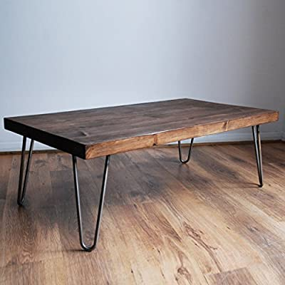 Rustic Vintage Industrial Solid Wood Coffee Table-Bare Metal Hairpin Legs, Dark Wood