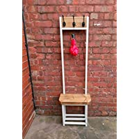 Coat stand with seat & shoe storage, Narrow hallway coat rack; bijou coat rack, ideal for porch industrial chic, several colours