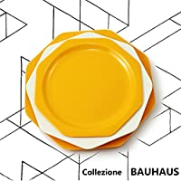 Cartaffini – colección Bauhaus – Juego de mesa Amarillo –3 platos octogonales: ...