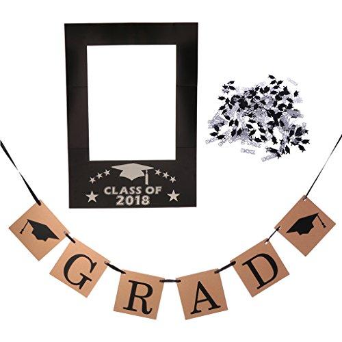 Baoblaze Mode Photo Booth Props Foto Accessoires, 1x Selfie Frame 1x Banner und 1x Tisch Konfetti, Idal für Graduation und Party (Foto-frame-maske)