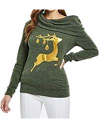 Hey Fashion Girl !!! Longra❤️❤️ Mujeres de Navidad Elk Imprimir Oblique Collar Sudadera Blusa