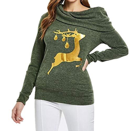 mxjeeio Frauen Elch Print Pullover Tops Shirts Winter Pullover Tops Loose Off Schulter Revers Fledermaus Ärmel Stricken Warm Langarm T-Shirt Tops Langarm-Shirt Pullover