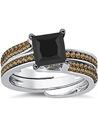 Silvernshine Interchangable Engagement Ring Set 14K White Gold Plated 2.35Ct Citrine Sim Diamonds
