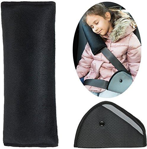 Gurtpolster für Kinder, Schlafkissen für das Auto (Schwarz)