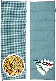HERBALIND 8-Kammer Wärmekissen Körnerkissen Schulter Nacken 60x20 cm in Karo/petrol - 100% Baumwolle - Getreid
