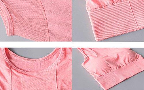 LemonGirl Femmes Soutien gorge de sport dyoga dépissure de maille antichoc à haute impression sans pink