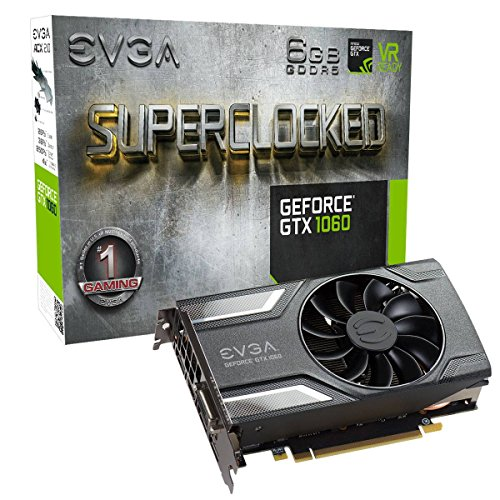 EVGA GeForce GTX 1060 SC Gaming, ACX 2.0 (Single Fan), 6GB GDDR5, DX12 OSD Support (PXOC) Grafikkarte  06G-P4-6163-KR (Single 400w)