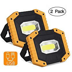 2 Pack COB 30W LED Work Light, T-SUNRISE Rechargeable Portable Waterproof LED Flood Lights for Outdoor Camping Hiking Emergency Car Repairing and Job Site Lighting (Battery Not Included)
