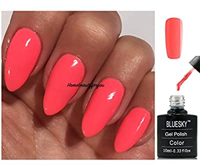 Bluesky DC55 Coral Peach Blossom Dence Range Nail Gel Polish UV LED Soak Off 10ml PLUS 2 Luvlinail Shine Wipes