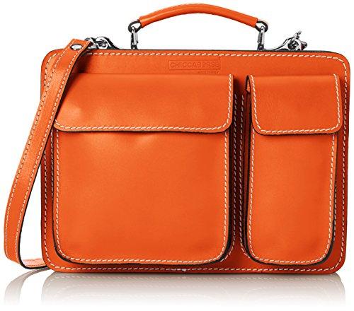 CTM Borsa Uomo da Lavoro Piccola Cartella Portadocumenti, 27x20x11cm, Vera Pelle 100% Made in Italy Arancione