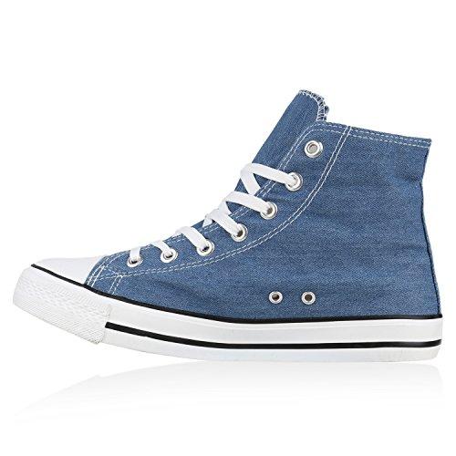 Herren Schuhe Sneakers | Sneaker High Denim | Turnschuhe Camouflage | Stoffschuhe Schnürer Blau Weiss