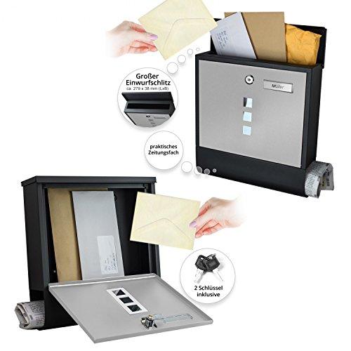 TÄGA 2217 Design Briefkasten anthrazit mit Zeitungsfach, Namensschild, Sichtfenster, Edelstahl pulverbeschichtet, abschließbar, 2 Schlüssel, Farbe: matt, anthrazit, grau - 2
