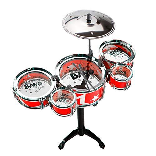 HUANGFU Drum Set Tamburo Jazz per Bambini 5 Pezzi suonando la Batteria Simulazione per Principianti per Bambini Batteria BambiniBatteria Strumenti Musicali Giocattoli (Color : Red)