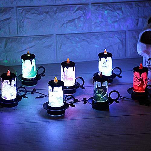 iBaste 4er Set Halloween Dekoration Licht Kerzenlicht Tischdeko mit Batterie 7cmx8.5cm Partydeko Laterne Beleuchtung