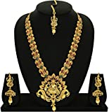 #6: Matushri Art Indian Traditional Temple Jewelry of God Laxmi with Elephant and Dancing Peacock Necklace Set for Women and Girls