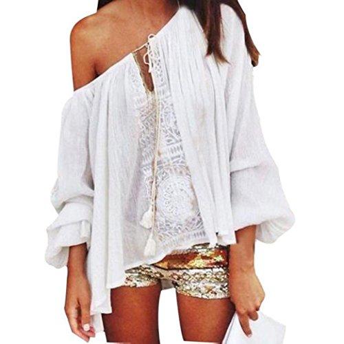 Sunnywill Frauen aus lässigen Tops Schulter Bluse Spitzen häkeln Chiffon Shirt für Mädchen Damen (S) (70er Jahre Hippie Mode)