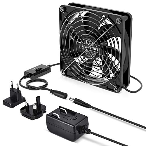 ELUTENG 120mm Ventilator USB mit 3 einstellbaren Windgeschwindigkeiten USB Lüfter 12V1A Be Quiet Gehäuselüfter Kompatibel mit PC Lüftes für Computer/PS4/TV Box/AV Schrank/Router