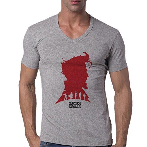 Suicide Squad Red White Art Big Head Edition Herren V-Neck T-Shirt Grau