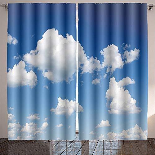 Jiahonghome Nature Decor Curtains Blue Sky with Cloud Closeup