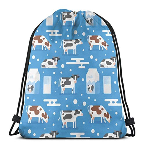 best gift Cow Milk Glass Blue Drawstring Bags Gym Bag Backpack Shoulder Sackpack 16.9x14 inch Blue Milk Glass