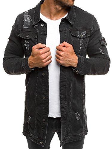 OZONEE Mix Herren Hoodie Funktionsjacke Casual Zip Sportswear Modern Jeansjacke Übergangsjacke Jacke Denim Sweats Sweatjacke Frühlingsjacke Jeans Jacke Otantik 474K SCHWARZ XL