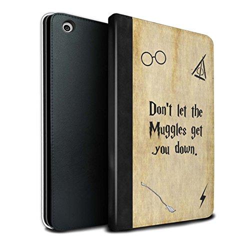Stuff4® PU-Leder Hülle/Case/Brieftasche für Apple iPad Mini 1/2/3 Tablet/Muggle Muster/Schule der Magie Film Zitate Kollektion (Ipad Mini Film-zitate)