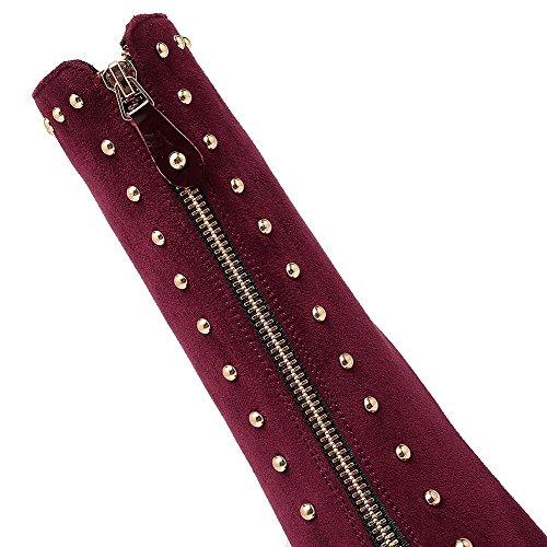 VogueZone009 Femme Dépolissement Zip Pointu à Talon Haut Haut Bas Bottes Rouge Vineux