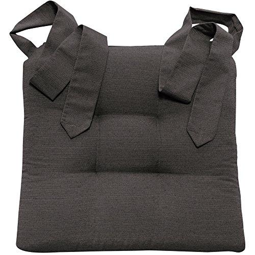 Stuhlkissen Sitzkissen mit Schleifenband von JEMIDI Stuhlkissen für Esszimmer mit Schleife Stuhl Kissen Stuhlauflage Rattanstühe Extra Dick und Bequem Leinenlook (Anthrazit)