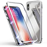 IPhone X Case, MR Mobile Hub Magnetic Adsorption Case Ultra Slim Metal Frame Tempered Glass With Built-in Magnet Flip Cover [Support Wireless Charging] For Apple IPhone X (Clear White)