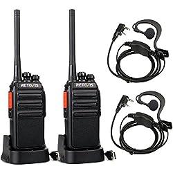 Retevis RT24 Plus Walkie Talkies PMR446 sin Licencia 16 canales 50CTCSS 210DCS Función VOX con Cargador USB Universal y Pinganillos(Negro,1 Par)