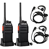 Retevis RT24 Walkie Talkie License Free Professional PMR446 16 Channels with Earpieces(Black,1Pair)