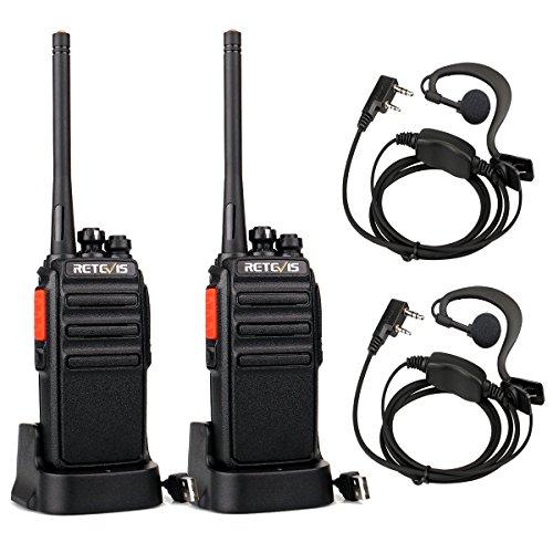 funkgeraete mit headset Retevis RT24 Plus Funkgerät Walkie Talkie 16 Kanäle UHF PMR Funkgeräte Wiederaufladbar USB Ladeschale mit Headset (EIN Paar, Schwarz)
