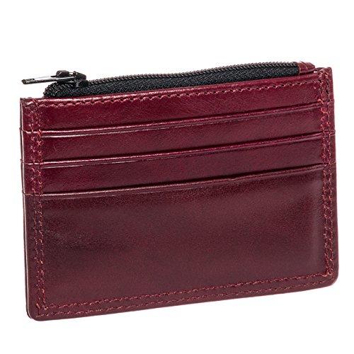 Orchill Hemlock Herren, Leder, Ultra schlankes Design, Reißverschluss-Tasche Etui Rot - Corinthian Red