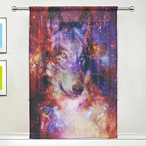 Use7 Custom Magical Galaxy Wolf Sheer Panel Vorhänge 139,7 x 19,8 cm, 1 Stück, Mehrfarbig Nebel Space Modern Modern Window Treatment Panel Collection für Wohnzimmer Schlafzimmer Home Decor -