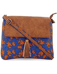 Vivinkaa Brown Floral Printed Canvas Tassle Sling Bag For Women