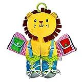 KOBWA - Aprender a Aprender a Vestir, Elefante, león, Rana o Jirafa en Forma de Jirafa, para Aprender a Vestir, con Cremallera, Broche, botón, Hebilla, Nudos y Corbata