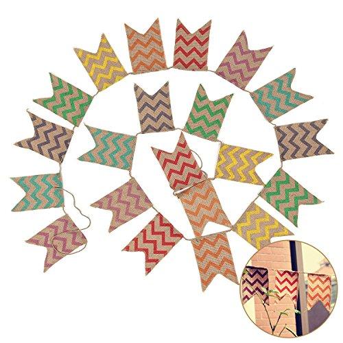 banderas de doble cara de estilo r/ústico guirnalda de 2,8/m decoraci/ón para boda Banderines de yute G2PLUS
