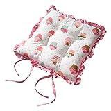 Homescapes Rüschenkissen zum Wenden 40 x 40 cm Stuhlkissen mit Bändern Cup Cakes Sitzkissen mit Rüschen