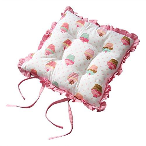 Homescapes Rüschenkissen zum Wenden 40 x 40 cm Stuhlkissen mit Bändern Cup Cakes Sitzkissen mit Rüschen (Rüsche Band)